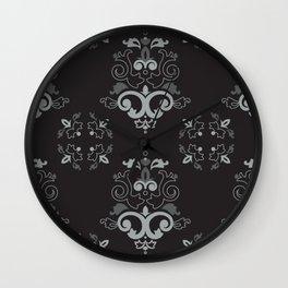 Black and Silver Damask Wall Clock