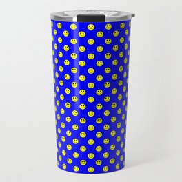 Smiley Happy in yellow color on a blue background - EFS164 Travel Mug