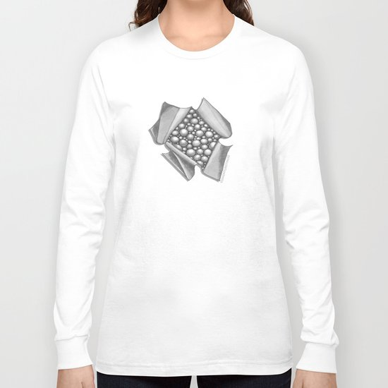 Zentangle 3D Box of Balls Black and White Illustration Long Sleeve T-shirt