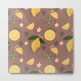 Whimsical Repeat Lemon Print Illustration - Mauve Metal Print