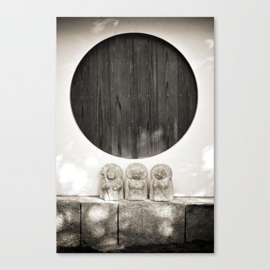 Jizo in Black and White, Kyoto Canvas Print