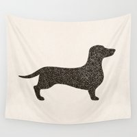 dachshund Wall Tapestries featuring Dog II - Dachshund by Alisa Galitsyna