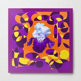 Colorful Moden Purple White Iris Orange Yellow Black Design Metal Print