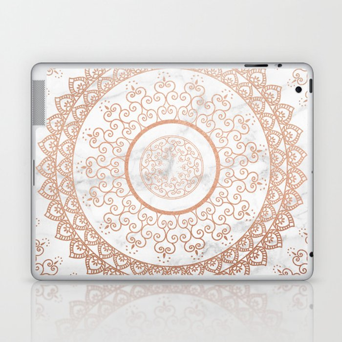 Mandala - rose gold and white marble Laptop & iPad Skin