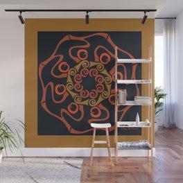 Hope Flower Mandala - Brown Black Framed Wall Mural
