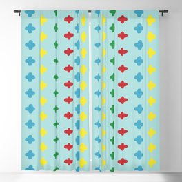 Colorful crosses stitches aligned on blue background Blackout Curtain