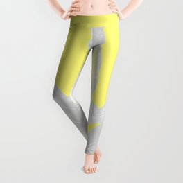 Green Fern on Lemon Yellow Inverted Leggings