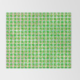 Lucky with gold horseshoes and four leaf clovers Throw Blanket