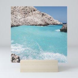 Fifty Shades of Blue Ocean Waves in Crete Island, Greece Mini Art Print
