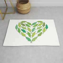 Love nature! Heart shape with green leaves. Rug
