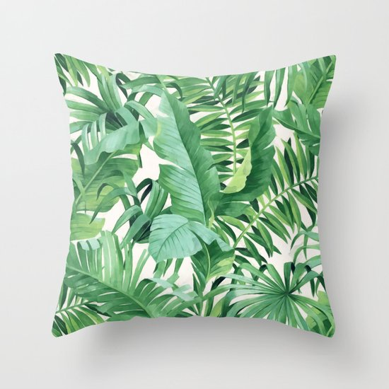 Green Tropical Leaves III Throw Pillow By CatyArte Society6