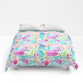 Rainbow Watercolor Seashells Comforters