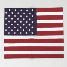 "Stars & Stripes flag, painterly ""old glory"" Throw Blanket"