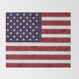 "Stars & Stripes flag, painterly ""old glory"" Throw Blanket"
