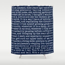 Moby Dick Opening Paragraph in White and Nautical Navy Blue Literary Typography Shower Curtain