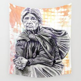 Old Lady Sitting Wall Tapestry