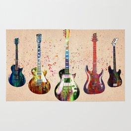 Sounds of music. Guitars. Rug
