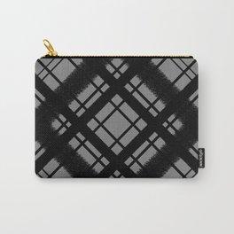 Black on Grey Plaid Digital Chalk Pattern Carry-All Pouch