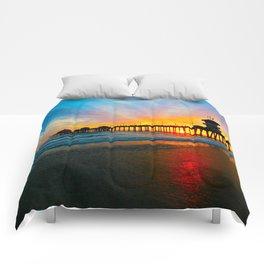 Sunset Huntington Beach Pier   Comforters