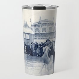 On the beach in 1900, history swimwear Travel Mug