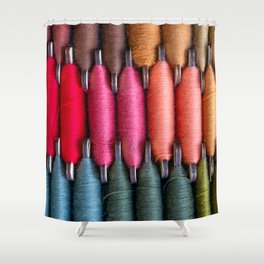 Spools of warm tone sewing threads Shower Curtain