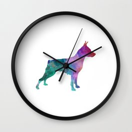 Miniature Pinscher in watercolor Wall Clock