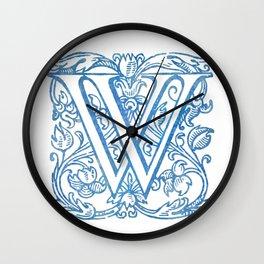 Letter W Elegant Vintage Floral Letterpress Monogram Wall Clock