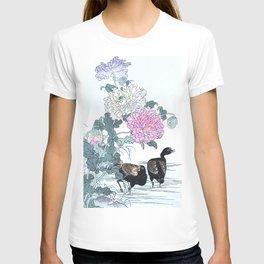 Kono Bairei - Two Moorhens And Flowers - Antique Japanese Woodblock Print Art (1883) T-shirt