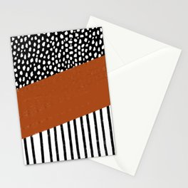 Polka Dots and Stripes Pattern (black/white/burnt orange) Stationery Cards