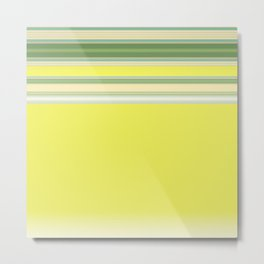 Bright Yellow Green Stripes Metal Print