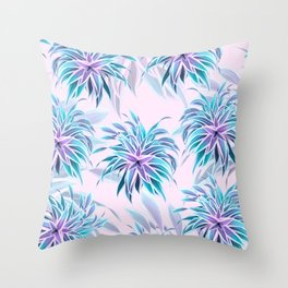 Pink & Aqua Plant Pattern on Pale Pink Throw Pillow