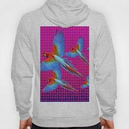 FLIGHT OF BLUE MACAWS IN FUCHSIA OPTICS Hoody