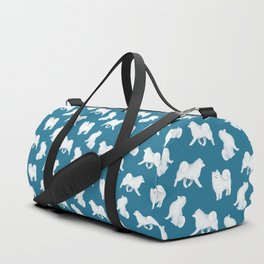 Samoyed Pattern (Blue Background) Duffle Bag