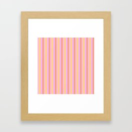 Hibiscus Hawaiian Flower Cabana Stripes in Pink, Yellow, Peach and Lilac Framed Art Print