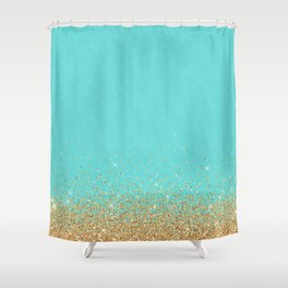 Sparkling gold glitter confetti on aqua teal damask background Shower Curtain