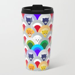 Japanese Wave Pattern cat Rainbow Travel Mug