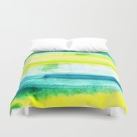 swimming Duvet Covers featuring Swimming Upstream by Picomodi