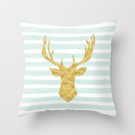 Gold Deer on Mint Watercolor Stripes Throw Pillow