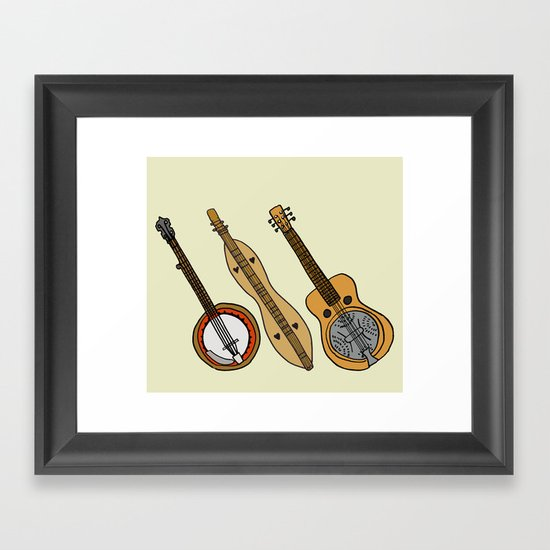Banjo, Dulcimer, Resonator Framed Art Print