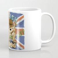 english bulldog Mugs featuring English Bulldog by Brian Raszka Art & Illustration