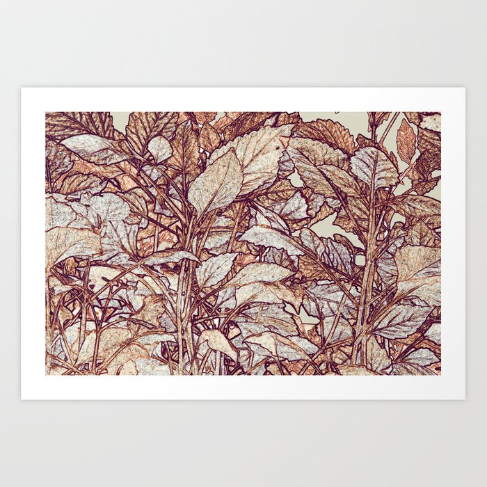 abstract camouflage leaves Art Print