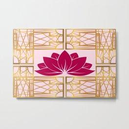Art Deco Retro Lotus (cerise) Metal Print