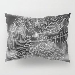 Spiderweb in Black and White Bokeh Nature Background #decor #society6 #buyart Pillow Sham