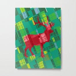 Merry Xmas Deer Pop Art Pattern Red and Green Metal Print