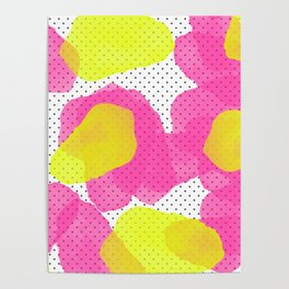Sarah's Flowers - Abstract Watercolor on Polka Dots Poster