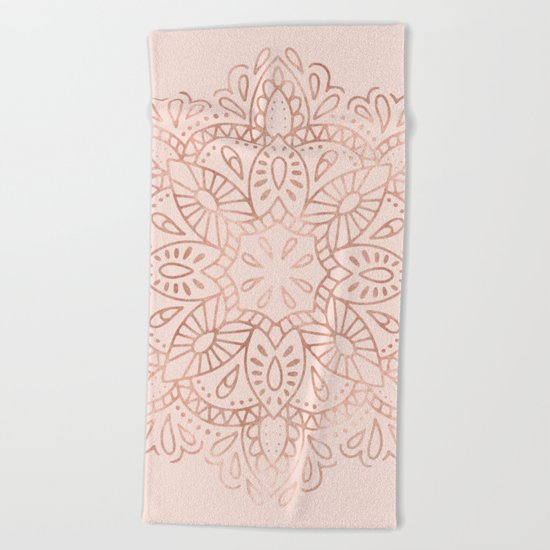 Mandala Rose Gold Pink Shimmer on Blush Pink Beach Towel
