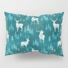 Ice Forest Deer Turquoise Pillow Sham