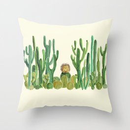 In my happy place - hedgehog meditating in cactus jungle Throw Pillow