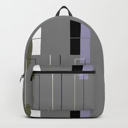 White Hairline Gray Squares Backpack