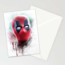 dead pool abstract watercolor portrait painting | Original Fan Art Stationery Cards